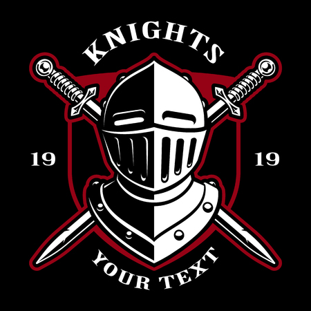 Emblem of knight helmet with swords on dark background. Logo design. Text is on the separate layer.