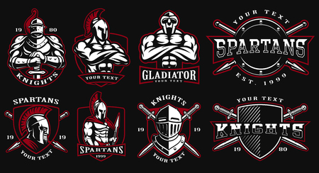 Set of logos, badges with ancient warriors. vector illustration with knight, spartan and gladiator. Perfect for fitness center, gym and fight club. Text is on the separate layers.