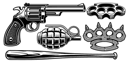 Set of black and white illustrations of different weapons Isolated on white background.