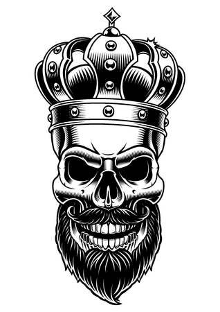 Skull of king. Vector black and white illustration on white background. Vettoriali