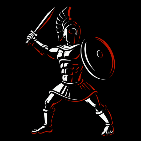 Spartan warrior. Vector illustration of gladiator on dark background.