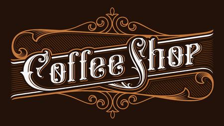 Coffee shop vintage lettering illustration. Ilustração