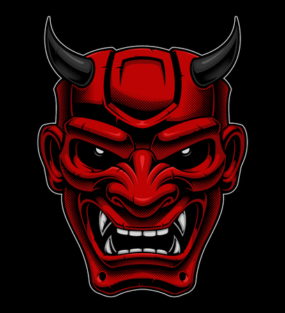 Japanese demon mask. Illustration