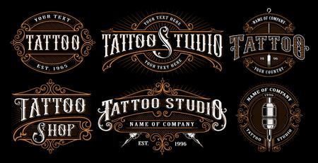 set vintage tattoo emblemen.