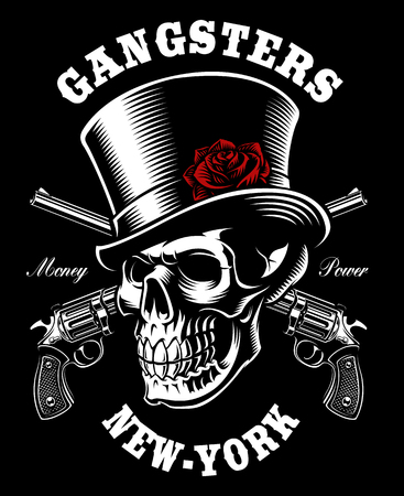 Skull with hat and guns.