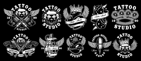 Set of custom tattoo designs. Stock Illustratie