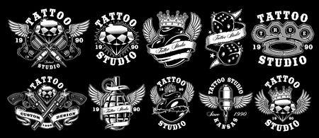 Set of custom tattoo designs. Illustration