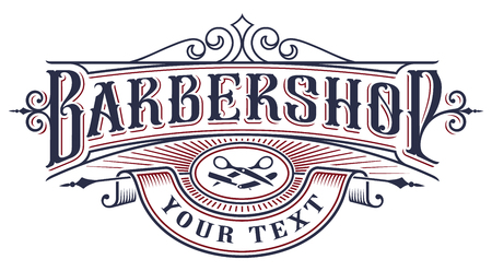 Barbershop logo design on the white background. Ilustração