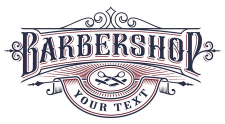 Diseño de logotipo de barbería sobre fondo blanco. Logos
