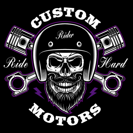 Biker skull with beard and crossed pistons. 矢量图像