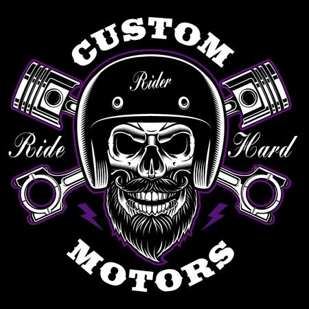 Biker skull with beard and crossed pistons. 向量圖像