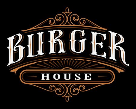 Vintage label of burger.