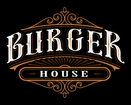 Vintage label of burger.