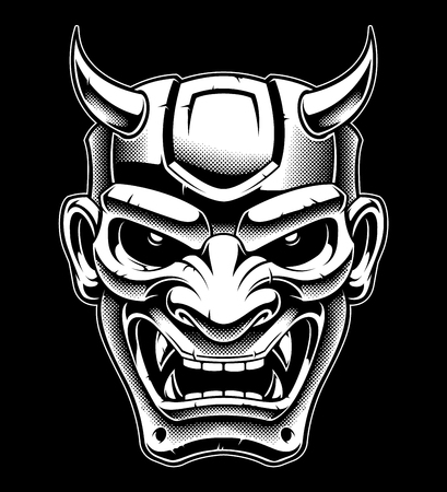 japanese demon mask, black and white version.