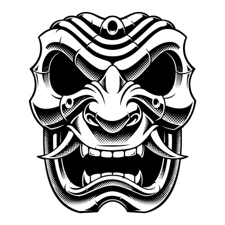 Samurai warrior mask black and white design Illustration