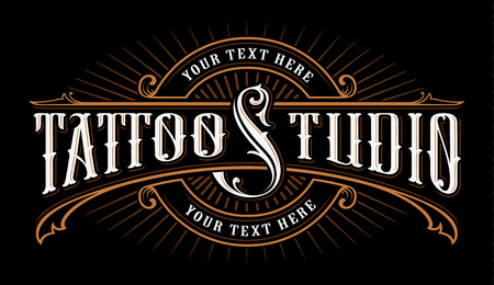 Vintage lettering of tattoo studio.