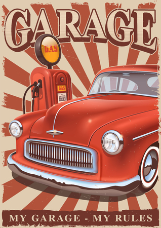 Vintage poster with classic american car and old gas pump. Retro metal sign.