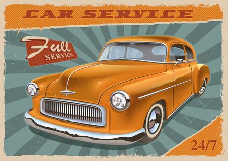 Vintage poster with retro car. Illustration