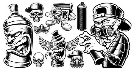Conjunto de personajes de graffiti en blanco y negro.