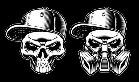 Black and white graffiti skulls Stock Photo