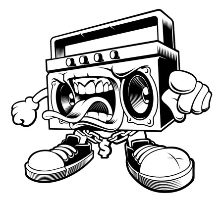 Graffiti boombox character.