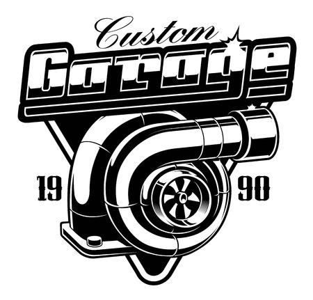 Vintage emblem with turbocharger on the white background.