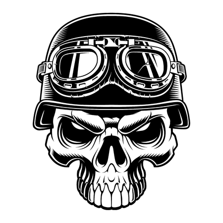 Black and white illustration of biker skull
