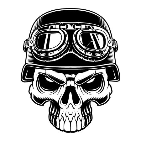 Black and white illustration of biker skull