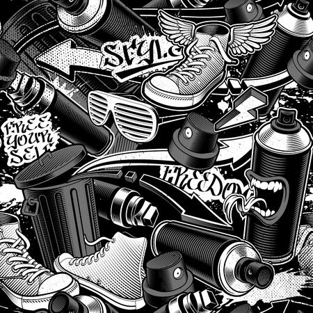 Patrón sin fisuras de graffiti sobre fondo oscuro. Fondo transparente blanco y negro.