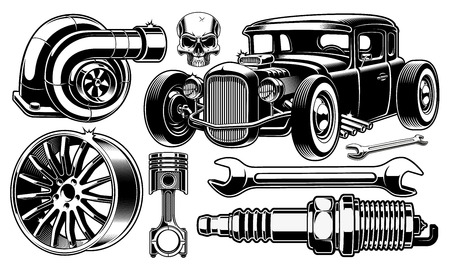 Black and white design elements of car repair.