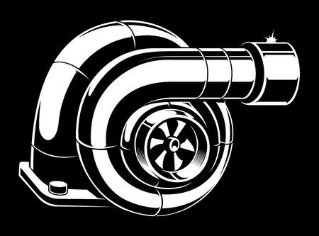 Vector illustration of black and white turbocharger.