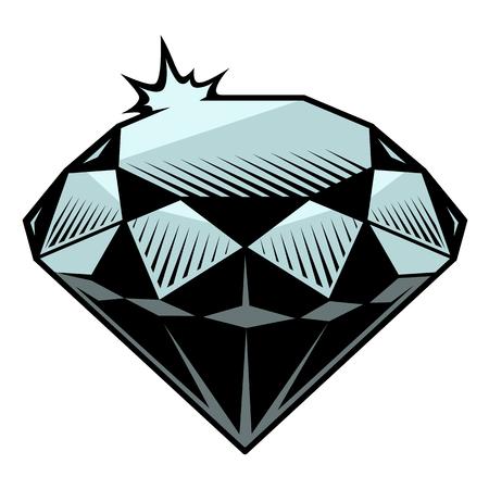 Vektorillustration des Diamanten im Tätowierungsstil