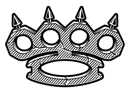 Black and white illustration of brass knuckles