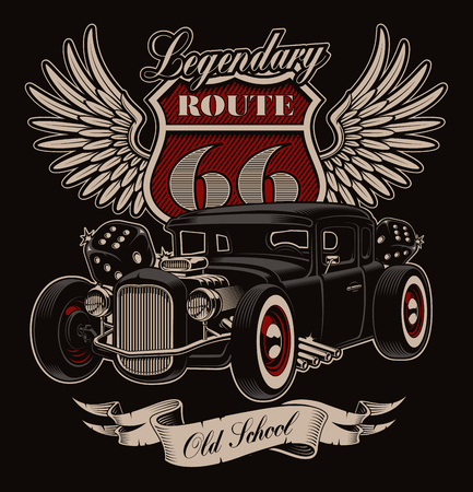 Vintage illustratie van Amerikaanse hot rod in rockabilly-stijl.