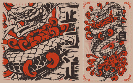Japanese snake tattoo design. Viper and chrysanthemums in japanese style. Perfect for the posters, shirt prints, and many other. Vectores