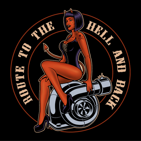Pin up girl devil on the turbocharger. 向量圖像