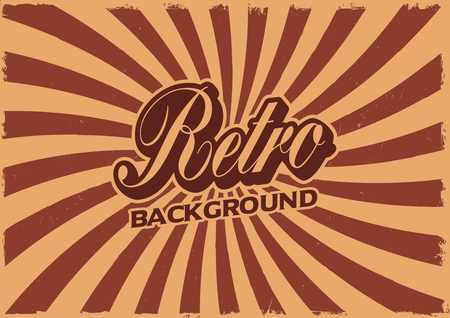 Vector retro background with rays and grunge effect Иллюстрация