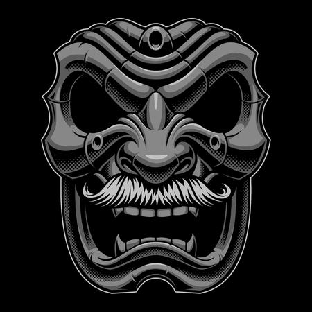 vector illustration of samurai mask with mustahce. Иллюстрация