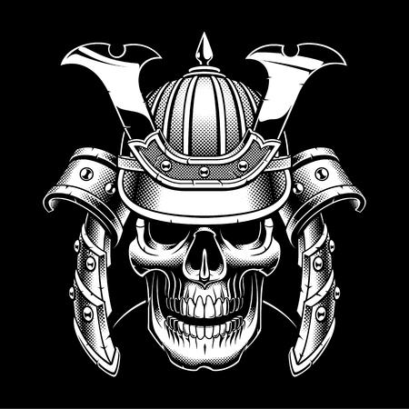Samurai skull on dark background.