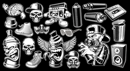 Set of black and white graffiti stickers.