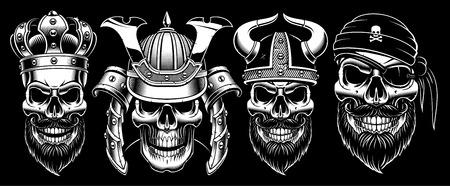 Set of vintage blak and white skulls.