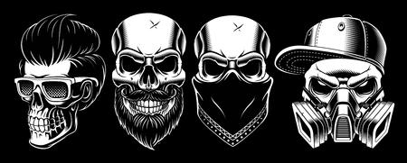 Set of vintage blak and white different skulls Illustration