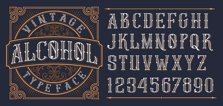 Vintage decorative font in western style on the dark background Иллюстрация