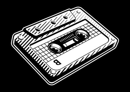 Black and white illustration of vintage audio cassette on dark background. Иллюстрация