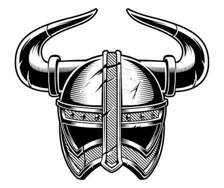 Black and white vector illustration of Viking helmet.