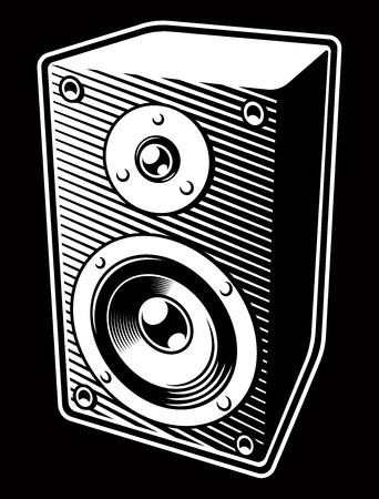 Vintage black and white illustration of Audio Speaker Иллюстрация