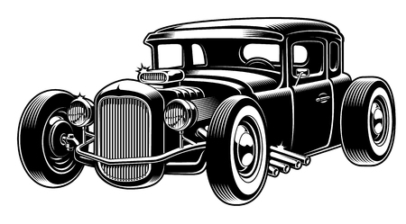 Vector black and white illustration of hot rod