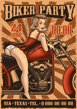 Vintage poster with pin up girl and motorcycle Illustration