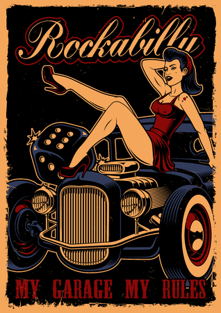 Vintage poster with pin up girl and classic car Çizim