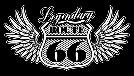 Vintage black and white emblem of route 66 with wings. Illustration